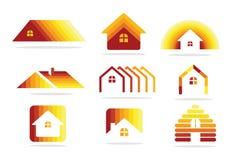 Hussymbol och fastighetlogo Arkivbild