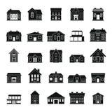 Hussymbolsuppsättning i enkel stil för svarta konturer Arkivbild
