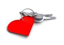 Hustangenter med hjärtasymbolskeyringen Begrepp för tangent till min hjärta Förälskelse Arkivbild