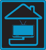 hustecken till tv:n Arkivbilder