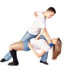 Hustle dancers. Portrait of couple dancing hustle Royalty Free Stock Images