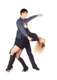 Hustle dancers. Isolated portrait of couple dancing hustle Stock Image