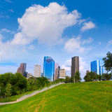 Huston skyline Eleanor Tinsley park Texas US Royalty Free Stock Photography