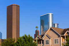 Huston skyline from wooden houses Texas US Stock Photos