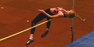 Zhodzik Mariya Belarus perfoms high jump during 19th Championship of Indoor High Jumpn on Janury 27, 2018 in Hustopece. HUSTOPECE, THE CZECH REPUBLIC - JANUARY Stock Photography