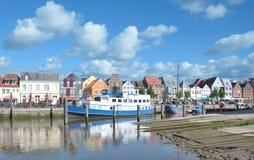 Husum,North Frisia,Schleswig-Holstein,Germany. Harbor of Husum at North Sea in North Frisia,Schleswig-Holstein,Germany royalty free stock photos