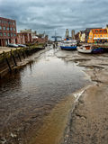 Husum tidal port near the wadden sea at low tide, Germany Stock Image