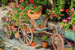 Husvagn med blommor Royaltyfria Bilder