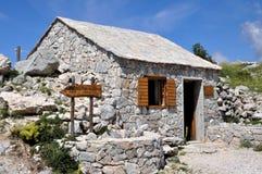 Hut. Mountain hut in Biokovo in the Croatia stock photography