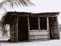 Hut. A hut made out of Palm Tree leaves in Mozambique Stock Photo