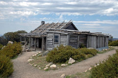 Hut. This is the famous Crag`s Hut. It stared in the film; The Man from Snowy River. Thee days after this photo was taken, it was burnt to the ground in a major Stock Photo