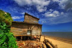 Hut. On the beach in Vila do Conde - Barcarena - Northern Brazil - The margin of the Amazon River Stock Image