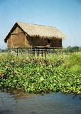 Hut. On Inle Lake stock photography