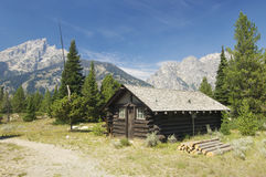 Hut. Wood hut in Grand Teton National Park; Wyoming; Estados Unidos Royalty Free Stock Photography
