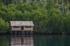 Hut above water Stock Photo