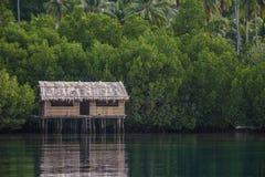 Hut above water stock photo