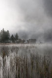 Hut in autumn-fog Stock Photography