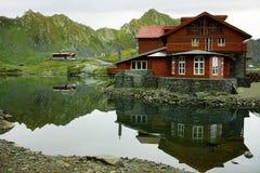 Hut at Balea Lake stock photos