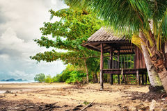 Hut on a Beach. Beach and hut in jungle, Koh Lanta, Thailand Royalty Free Stock Photography