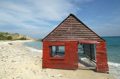 Hut on beach 库存照片