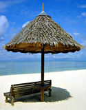 Hut on the beach. A rest thatch hut on the beach Royalty Free Stock Photos