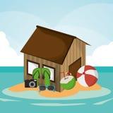 Hut beach ball flip flop camera cocktail sunglasses island. Vector illustration eps 10 Stock Images