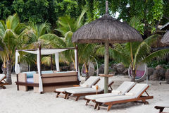 Free Hut Beach Bed And Transats Mauritius Royalty Free Stock Images - 13326289