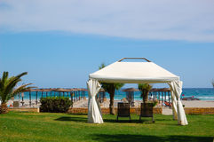Hut at the beach of luxury hotel Stock Photography