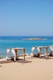 Hut at the beach of luxury hotel Stock Photos