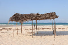 Hut on the beach near Indian Ocean Stock Photo