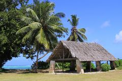 Hut ,Beach, tropical landscape. Beautiful hut at La Digue,Seychelles islands, coast of indian océan, with turquoise water and rocks Royalty Free Stock Photos