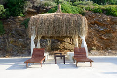 The hut on beach at turkish resort Stock Photography
