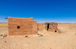 Hut Berber in the Sahara desert Royalty Free Stock Photography