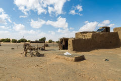Hut Berber in the Sahara desert. Royalty Free Stock Photo