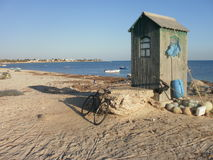 Hut and Bicycle in Djerba. Tunisia Stock Photography