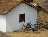 Hut and Bicycles Royalty Free Stock Photography