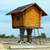 Hut on chicken legs, a character of Russian fairy tales,. Located near the road Nicolaev - Kherson, Ukraine Royalty Free Stock Images