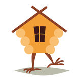 Hut on chicken legs vector. Cartoon house with window, baba yaga home Stock Images