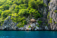 Hut on the cliff at Island of kawthaung Myanmar, The border town Royalty Free Stock Image
