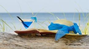Hut, coctail und Buch stockbild