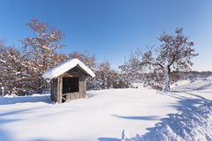 A hut covered with snow Royalty Free Stock Images