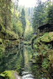 Hut creek and forest in the Bohemian Swizterland Royalty Free Stock Image