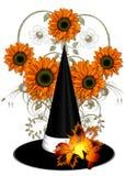 Hut der Hexe mit orange Sonnenblumen Stockfotos