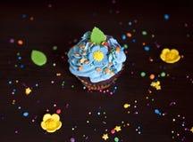 Hut der kleinen Kuchen mit Sahne caken Lizenzfreies Stockbild