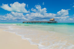 Hut. Destroyed jetty in the ocean. Houseboat. Beautiful beach. Isla blanca. Destroyed jetty in the ocean. Houseboat. Beautiful beach. Isla blanca, Ocean, Yucatan Royalty Free Stock Images