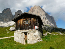 Hut in the Dolomites Royalty Free Stock Photo