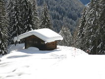 Hut in Dolomites Alps Stock Image
