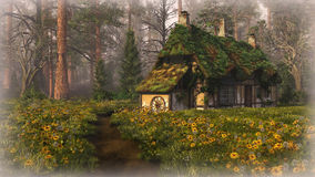 Hut on the Edge of the Forest, 3d cg Stock Photo