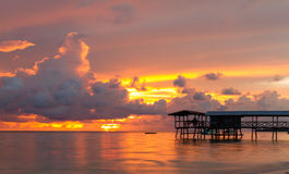 Hut en zonsondergang Royalty-vrije Stock Fotografie