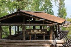 Hut Expedition. beaver log. Krasnoyarsk royalty free stock photo